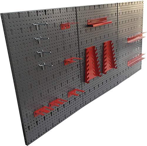 Kreher dreiteilige Werkzeuglochwand aus Metall mit 14tlg. Hakenset