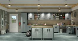 Moderne Werkstatt mit Werkzeugschränken und Werkstatthängeschränken